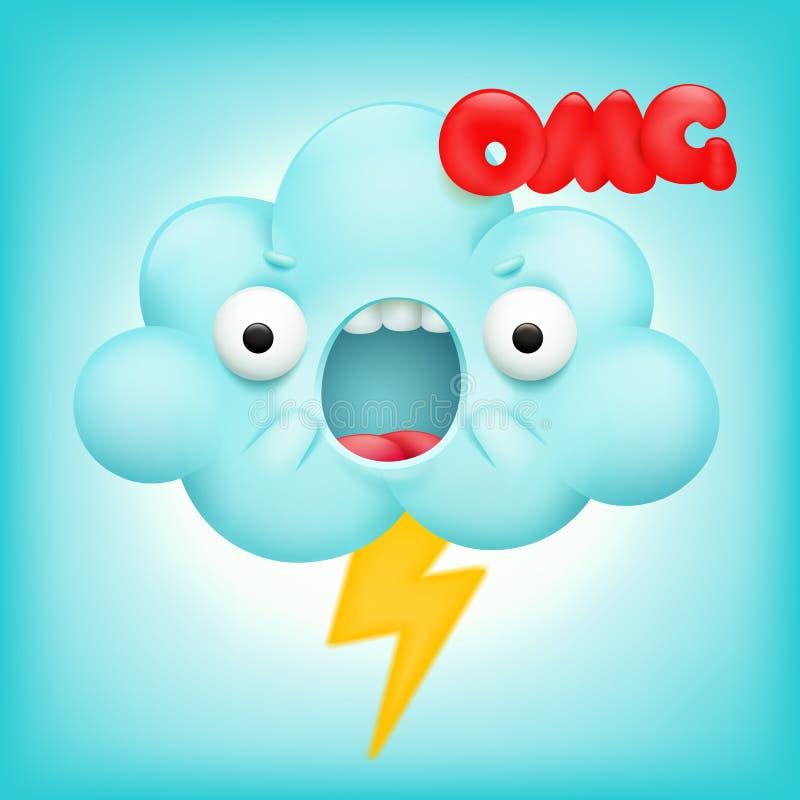 恼怒的云彩动画片与闪电的kawaii字符 皇族释放例证