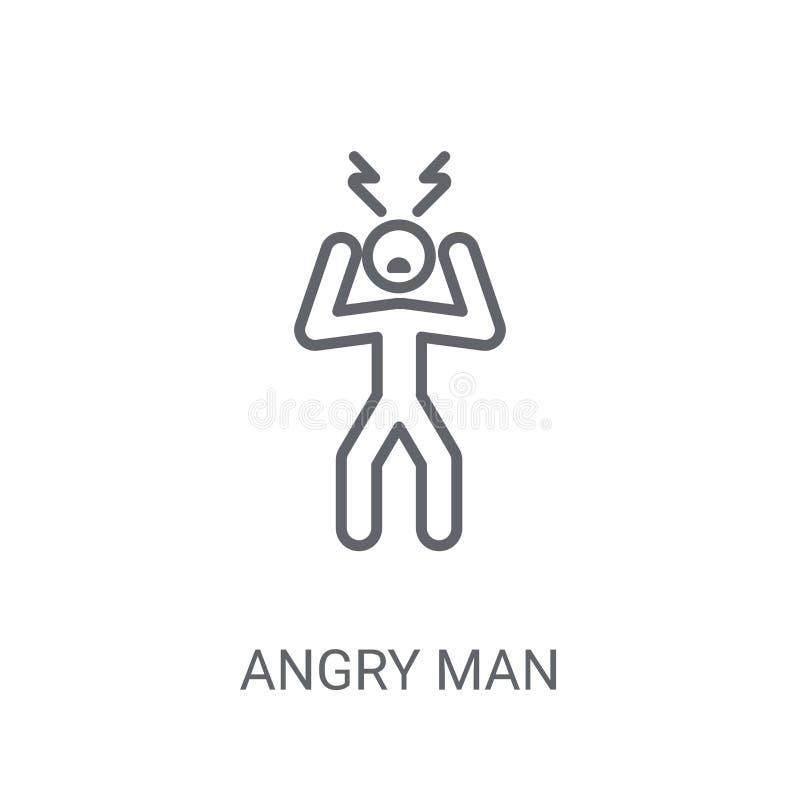 恼怒的人象 在白色backgroun的时髦恼怒的人商标概念 库存例证