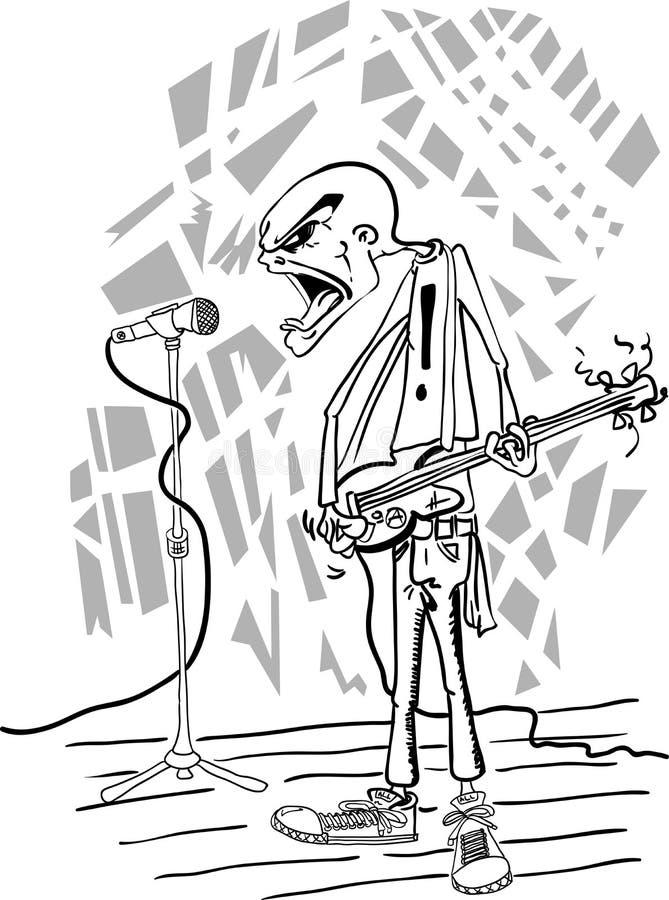 恼怒的低劣的bassman 向量例证