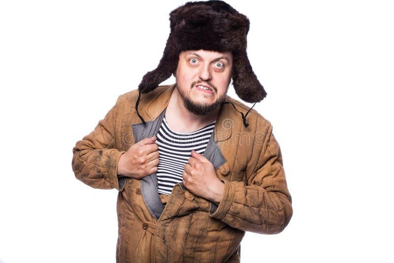 恼怒的俄国人准备好战斗 免版税库存图片