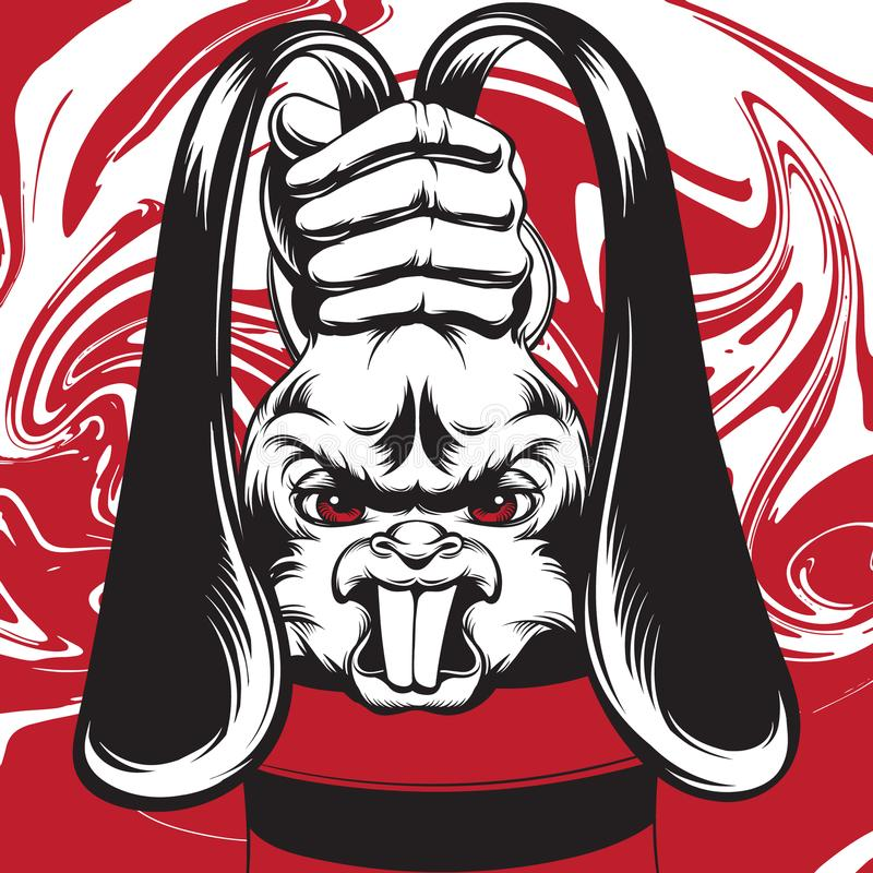 v兔子恼怒的兔子的手拉的纹身用魔术师的手与画象的心情现实花刺例证艺术像滚雪球似的离开时兔子图片