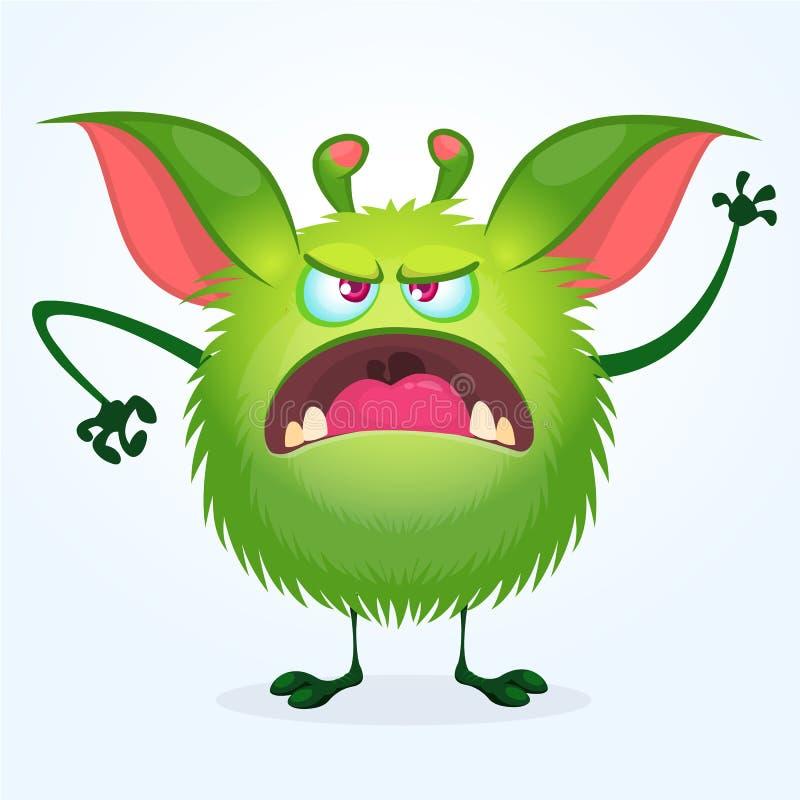 恼怒的动画片绿色长毛的妖怪 逗人喜爱的妖怪的大收藏为万圣夜 也corel凹道例证向量 库存例证