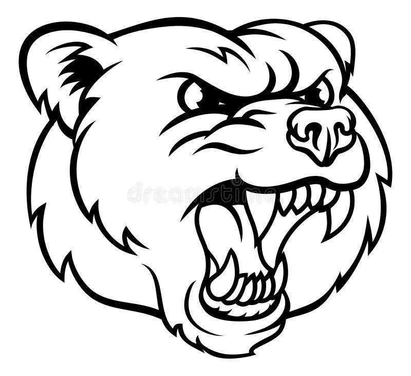 恼怒的北美灰熊体育吉祥人面孔 向量例证