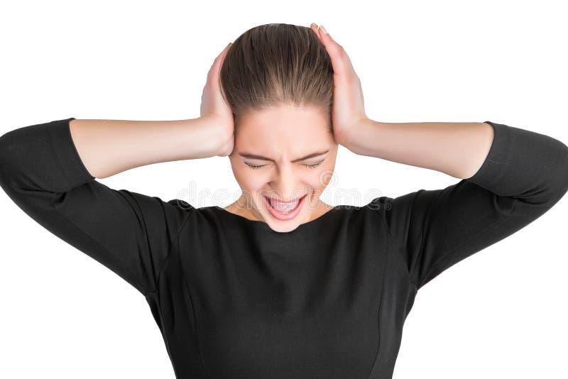 恼怒的叫喊的妇女 免版税图库摄影