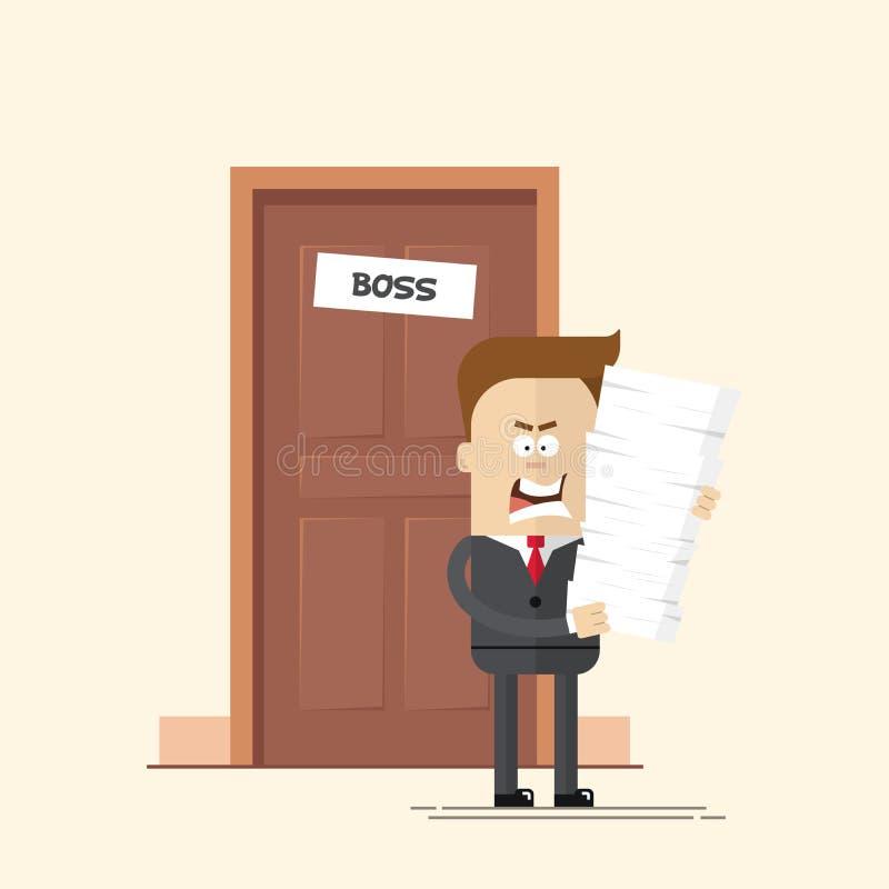 恼怒的商人或经理有很多文件的从办公室运作的上司出来 不快乐的人超时 向量例证