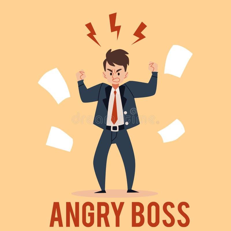 恼怒的商人立场举有闪电的拳头在顶头动画片样式上 皇族释放例证