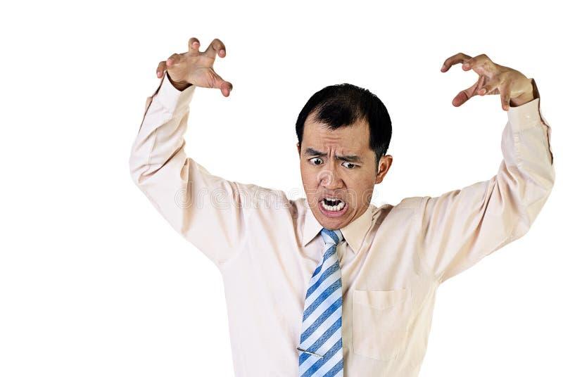 恼怒的商人纵向 免版税库存照片