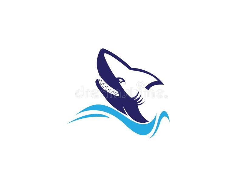 恼怒的商标设计的鲨鱼头开放嘴 向量例证