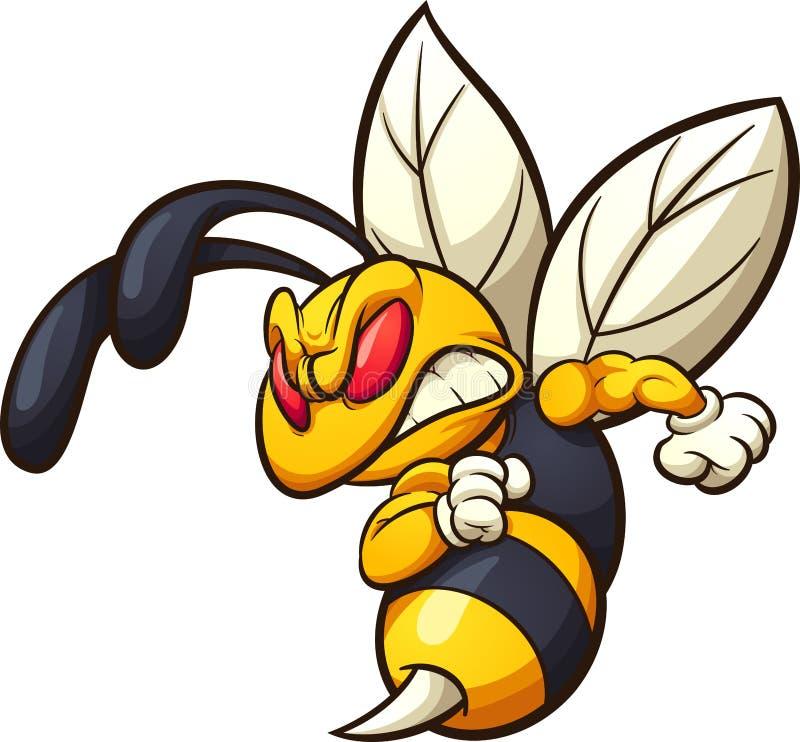 恼怒的大黄蜂、黄蜂或者蜂吉祥人 库存例证