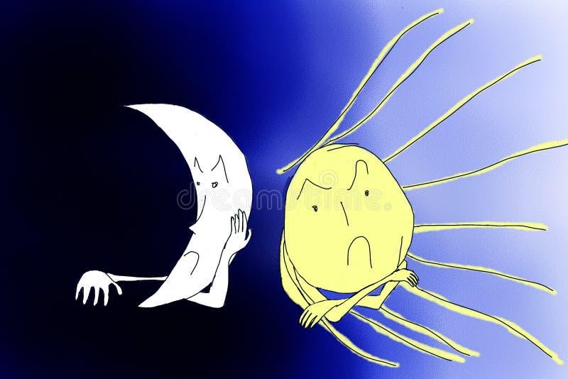 恼怒的太阳与恼怒的月亮 库存照片
