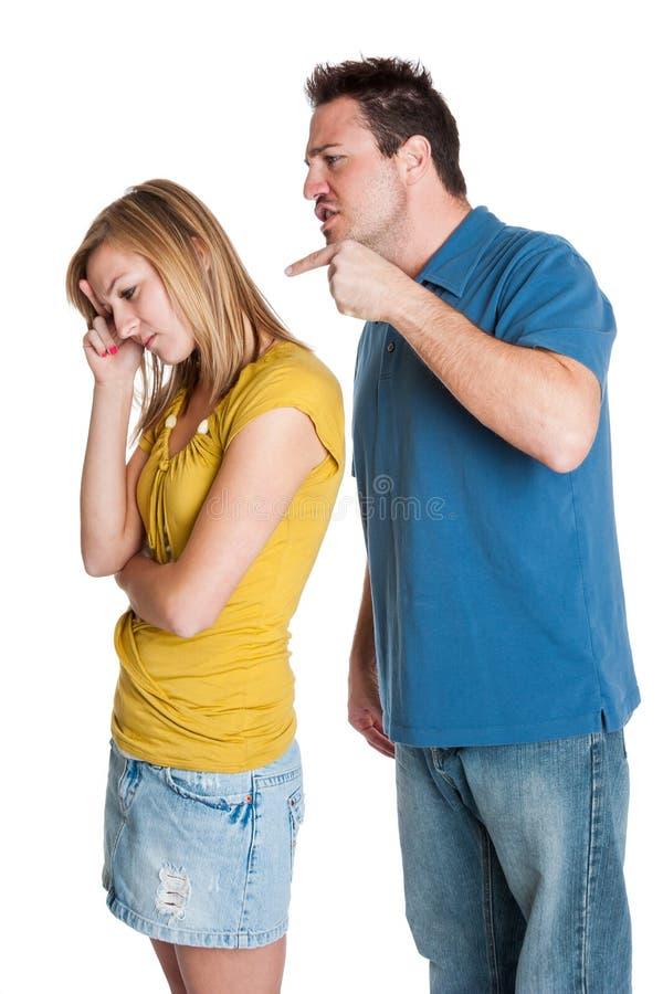 恼怒的夫妇战斗 免版税库存图片