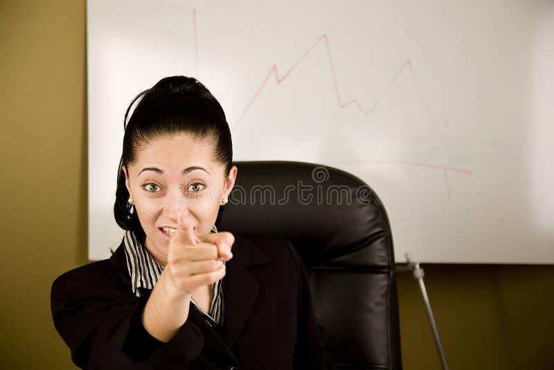 恼怒的女商人 免版税库存图片
