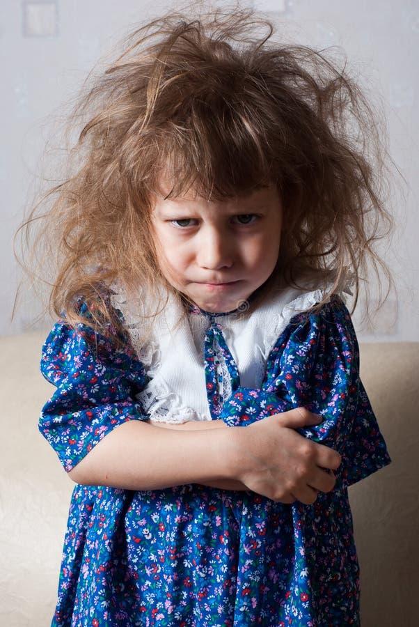 恼怒的女孩一点 图库摄影