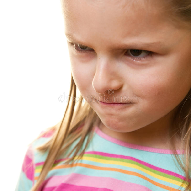 恼怒的女孩 库存照片