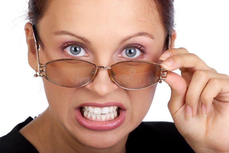 恼怒的女实业家 免版税库存图片
