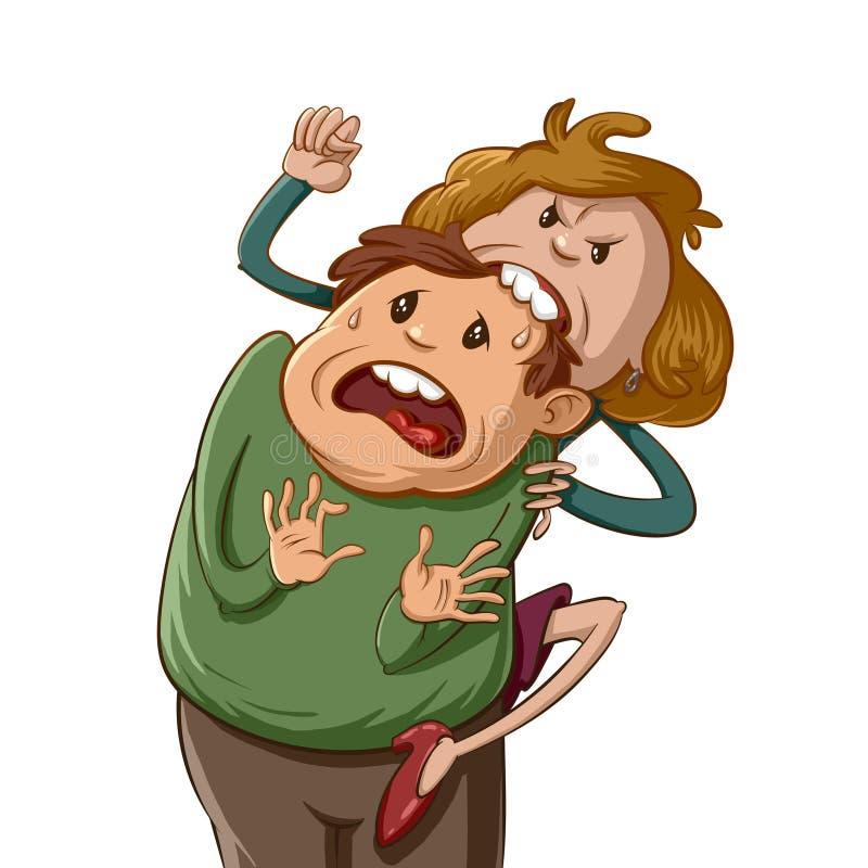 恼怒的妻子动画片 向量例证
