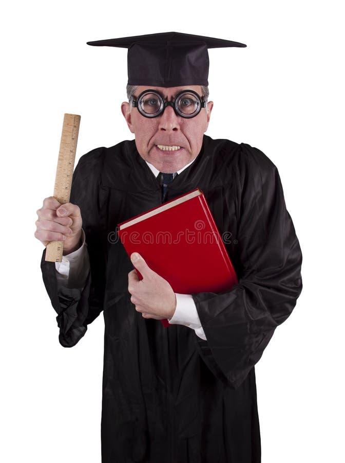 恼怒的学院滑稽的幽默平均值教授教&# 免版税图库摄影