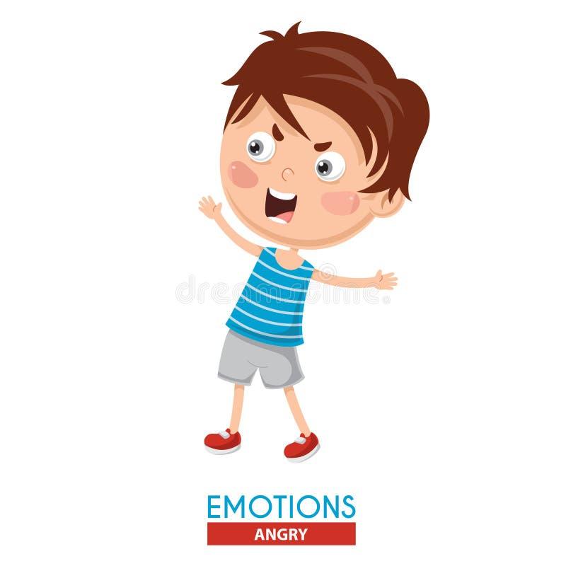 恼怒的孩子情感的传染媒介例证 库存例证