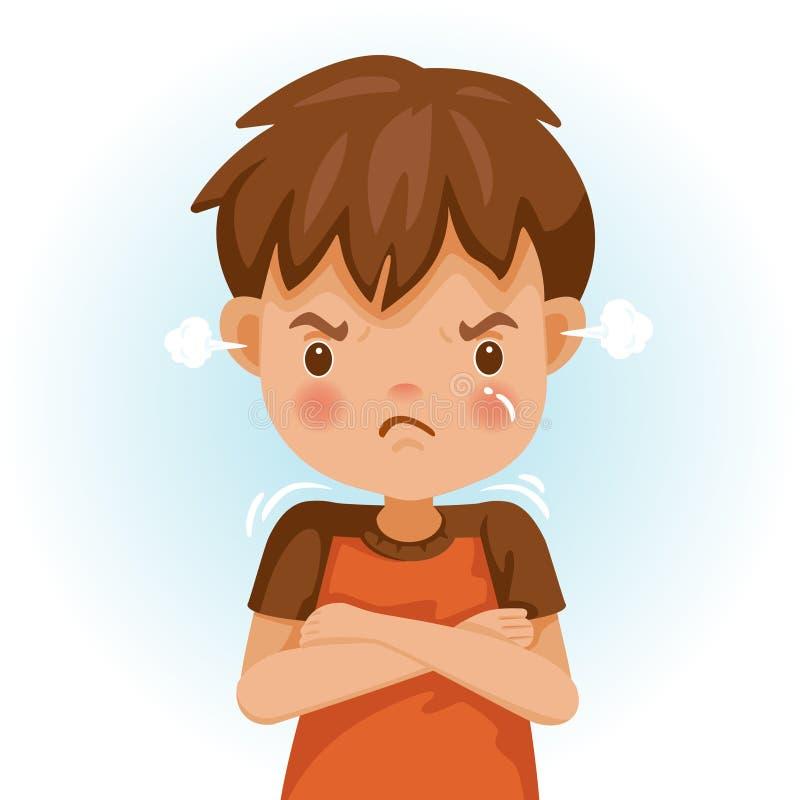 恼怒的孩子 向量例证