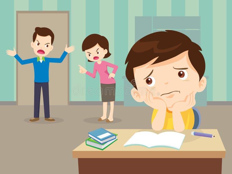 恼怒的家庭争吵与哀伤的儿子有家庭作业 皇族释放例证