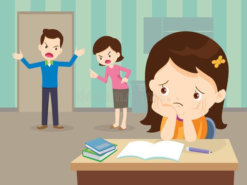恼怒的家庭争吵与哀伤的女儿有家庭作业 库存例证