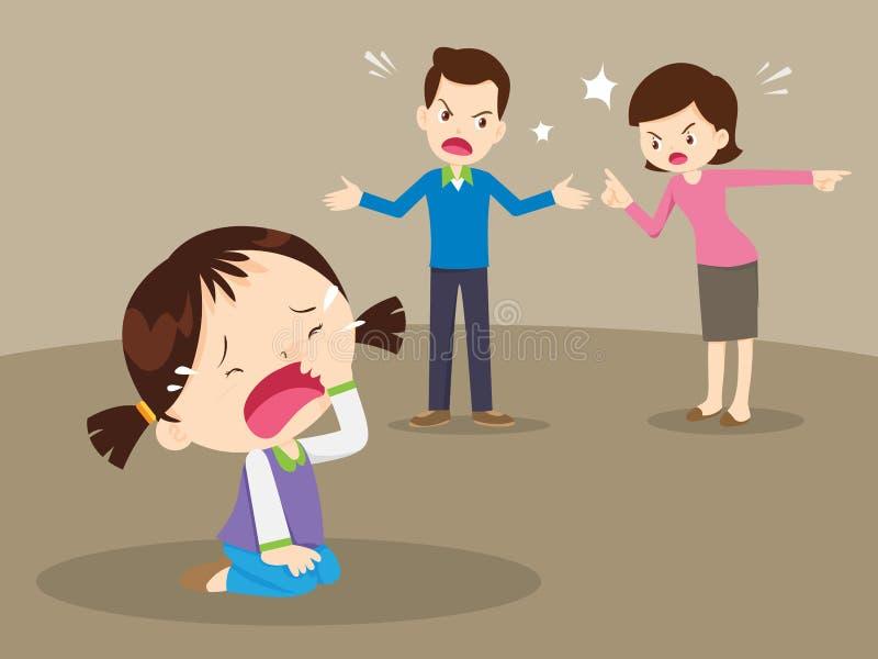 恼怒的家庭争吵与哭泣的女孩 向量例证