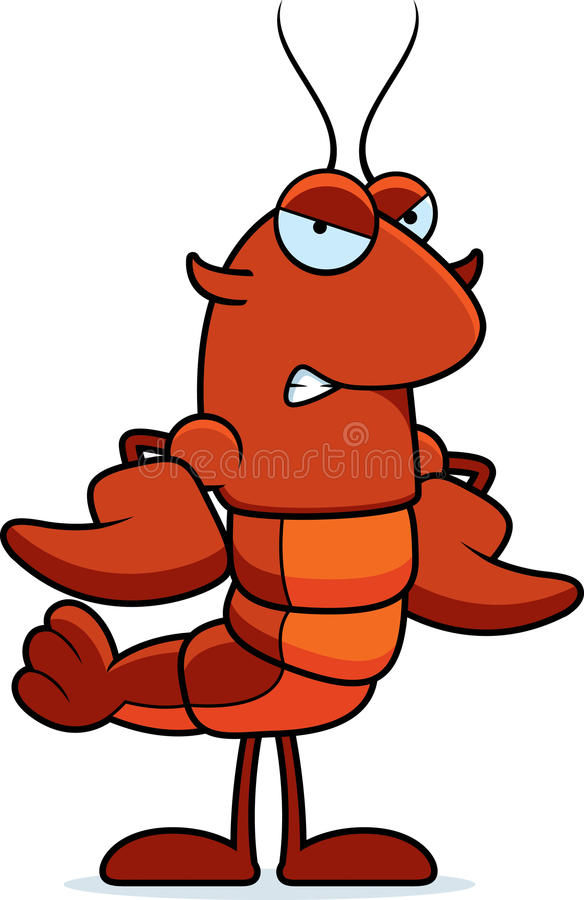 恼怒的小龙虾 向量例证