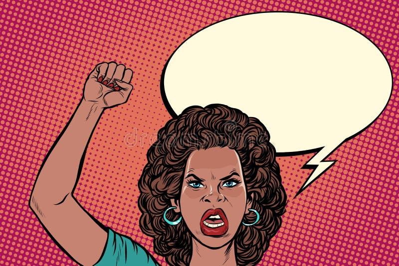 恼怒的抗议者非洲妇女,集会抵抗自由民主 库存例证