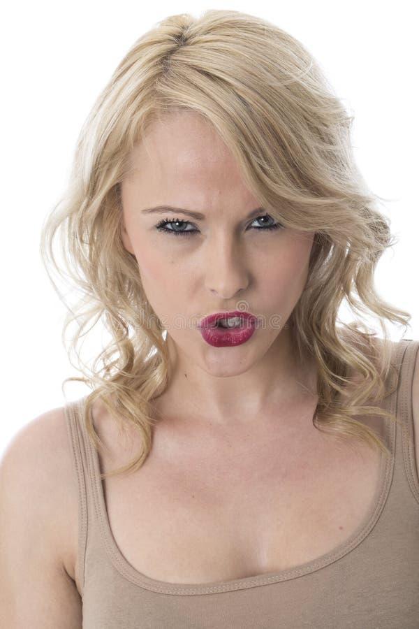恼怒的搅动的愤怒的少妇 库存照片