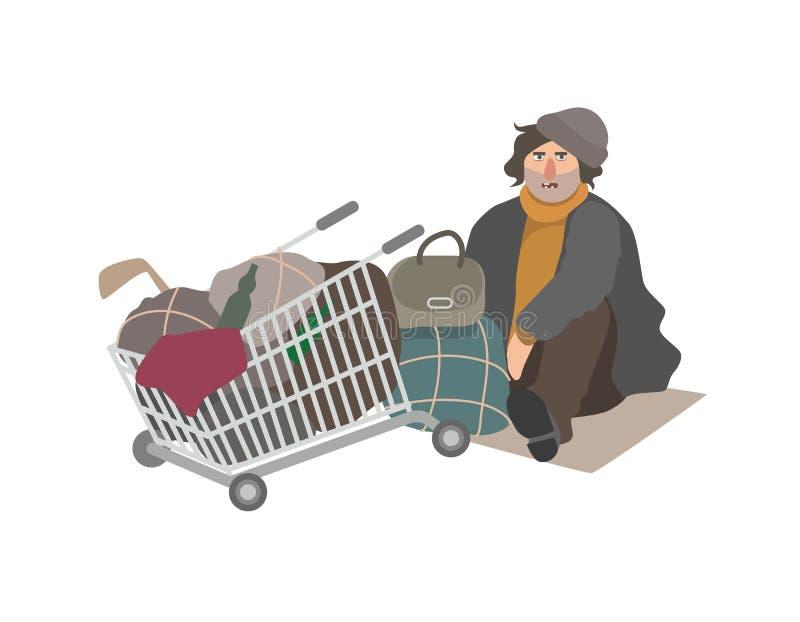 恼怒的无家可归的人在破旧的衣裳穿戴了充分坐在街道上的纸板板料在购物车老破烂物旁边 皇族释放例证