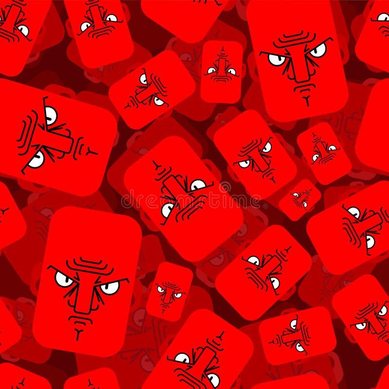 恼怒的无缝面孔红色的样式 邪恶的情感背景 不满意的顶头纹理 库存例证