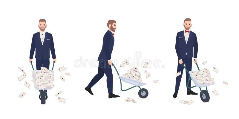 恼怒的有胡子的人在典雅的正式衣服运载的独轮车充分穿戴了在信封的信件 男性动画片 库存例证