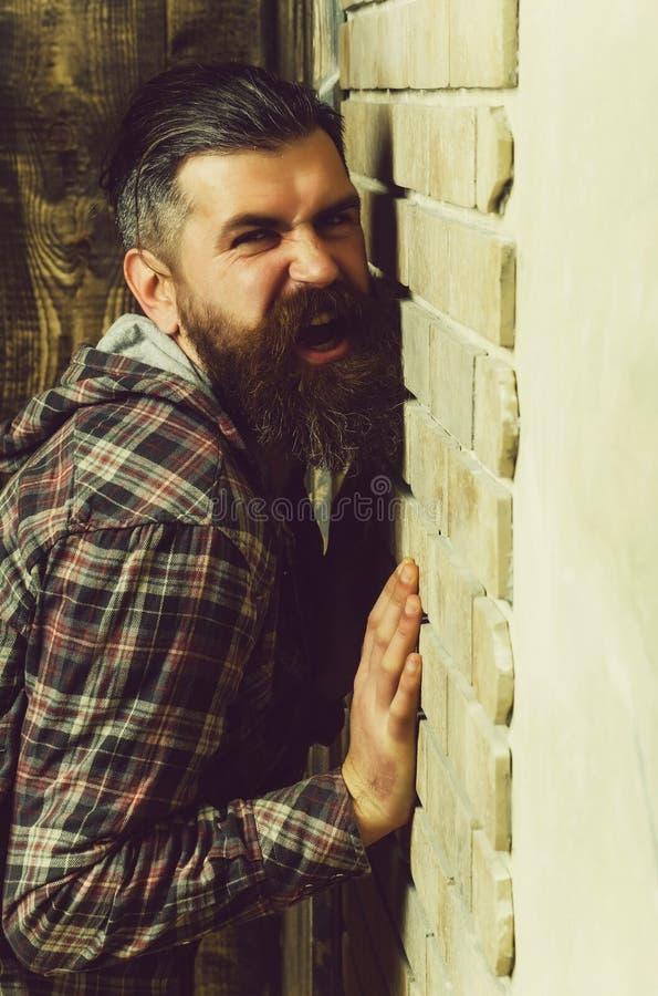 恼怒的有胡子的人尖叫对砖墙 免版税库存照片