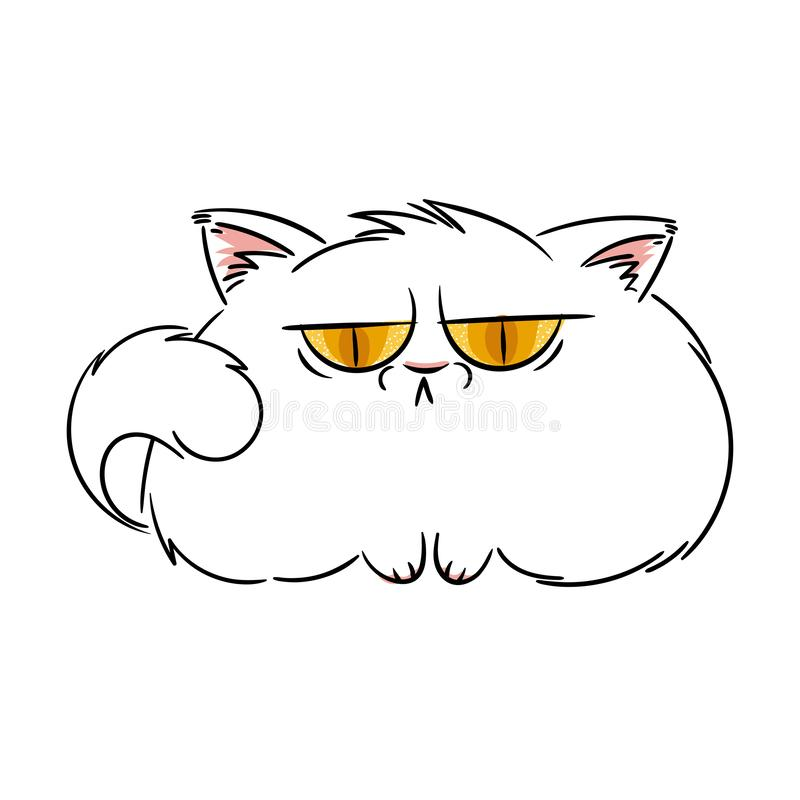 恼怒的毛茸的动画片猫 印刷品的逗人喜爱的脾气坏的猫,设计,卡片,标记 库存例证