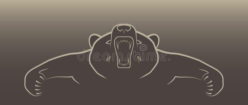 恼怒的熊例证商标 免版税库存照片