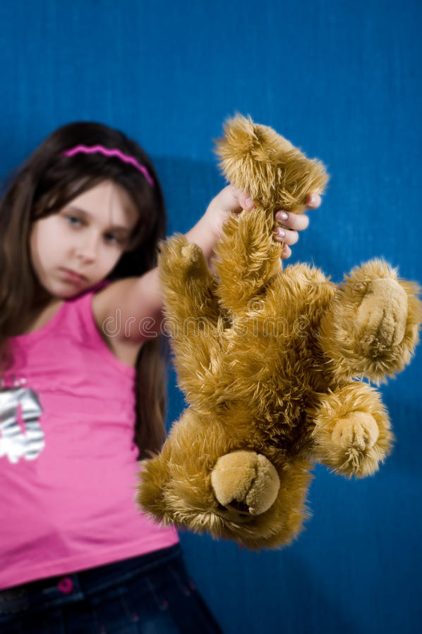 恼怒的熊女孩藏品女用连杉衬裤 图库摄影