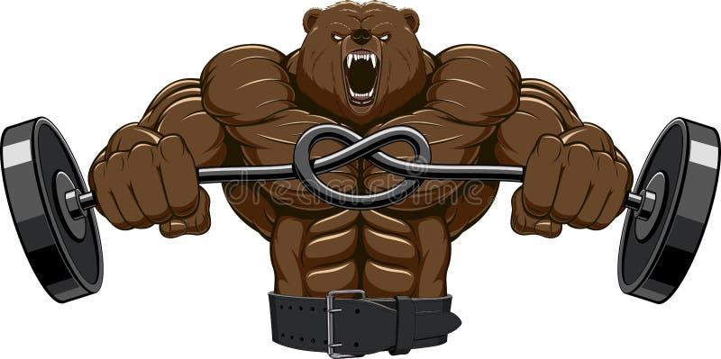 恼怒的熊头吉祥人 向量例证