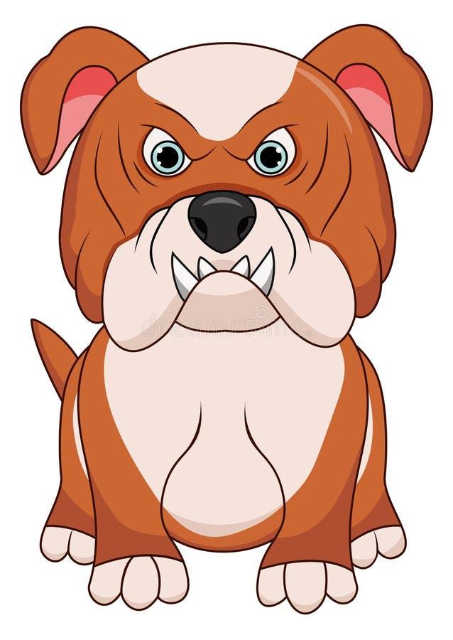 恼怒的牛头犬狗动画片吉祥人字符布朗颜色 在空白背景查出的向量例证 库存例证