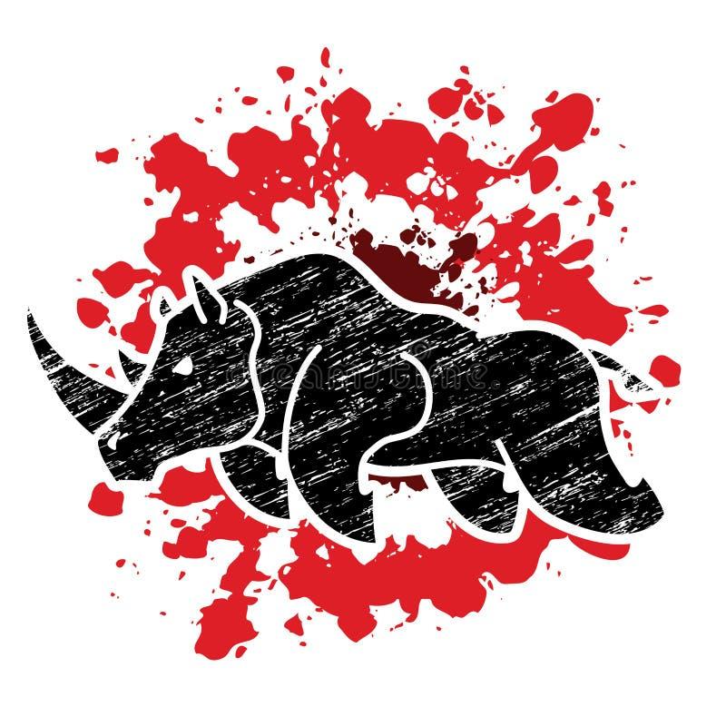 恼怒的犀牛攻击图表传染媒介 向量例证