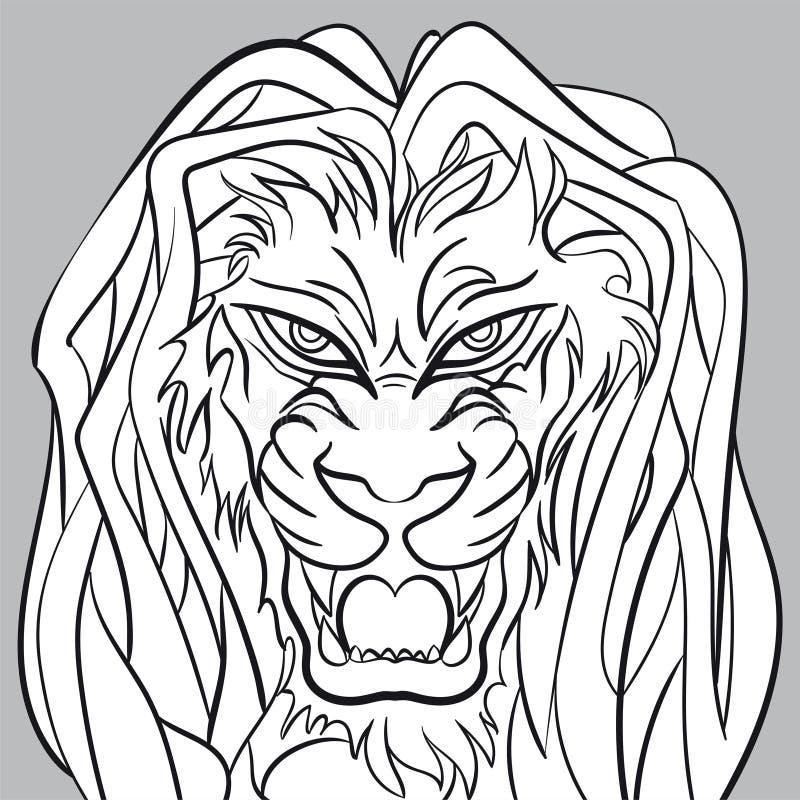 恼怒的狮子坚硬的编辑可能的向量图形 免版税库存图片