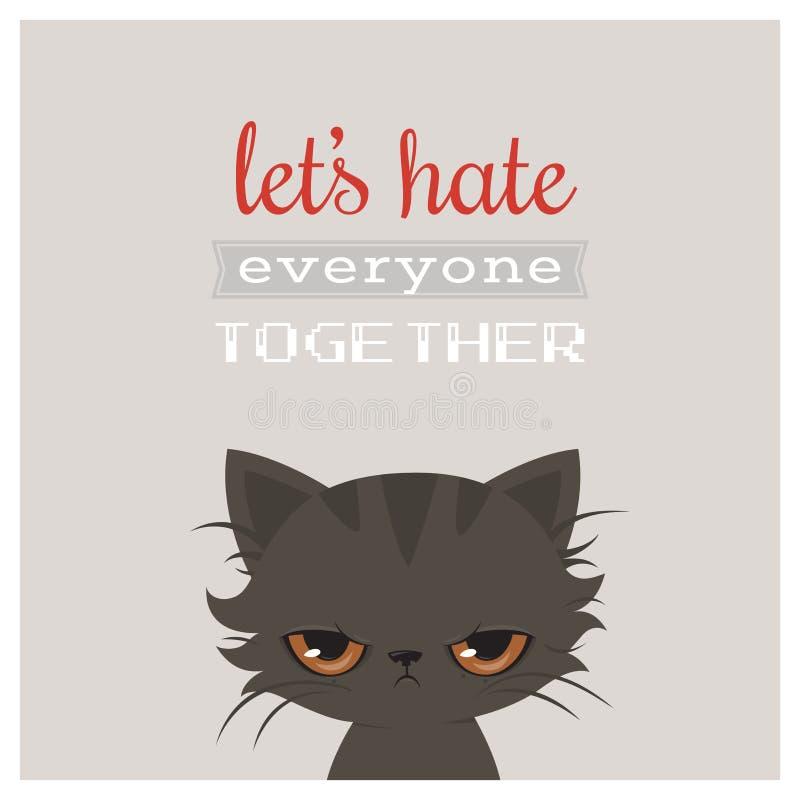 恼怒的猫动画片 逗人喜爱的脾气坏的猫,传染媒介 脾气坏的猫贺卡 向量例证
