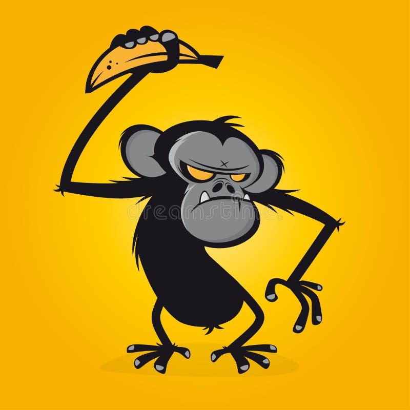 恼怒的猿用香蕉 皇族释放例证