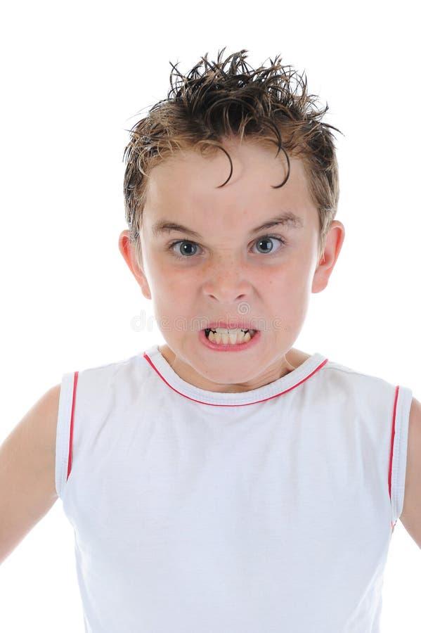 恼怒的男孩一点 库存图片
