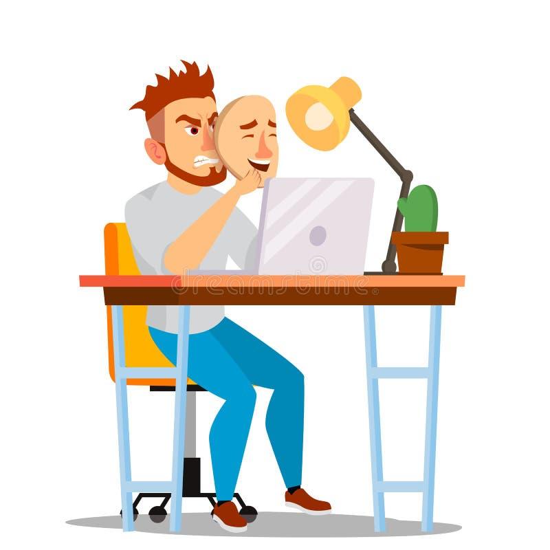 恼怒的男服好面具传染媒介 坏,疲乏的人 假人 欺骗概念 被隔绝的平的动画片企业字符 皇族释放例证