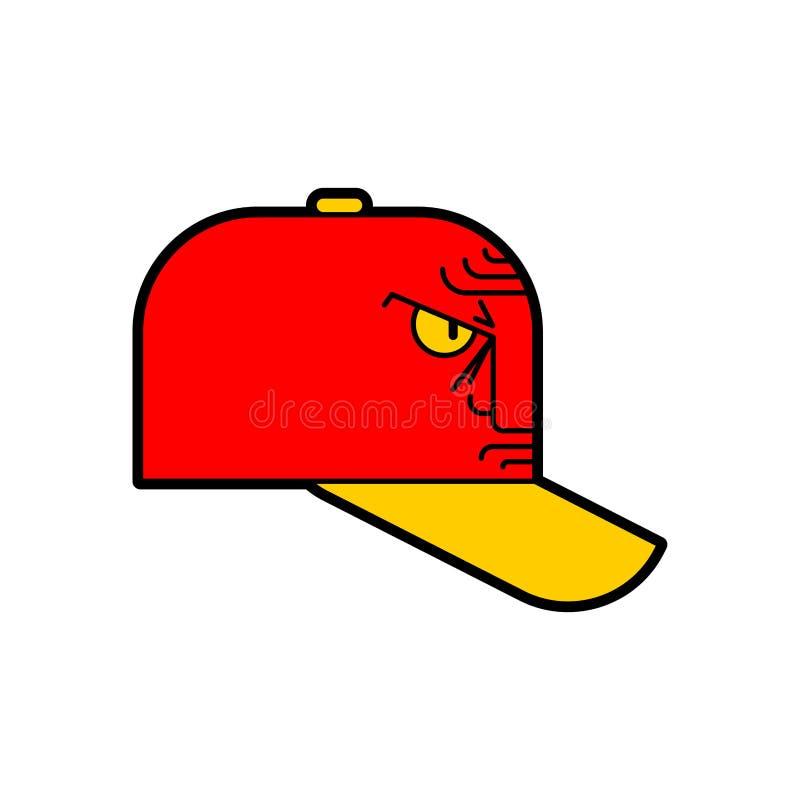 恼怒的盖帽 邪恶的棒球帽 r 向量例证