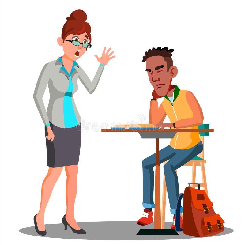 恼怒的睡觉在书桌传染媒介的老师和学生 按钮查出的现有量例证推进s启动妇女 库存例证