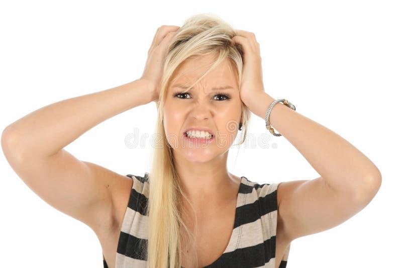 恼怒的秀丽白肤金发的妇女 免版税库存图片