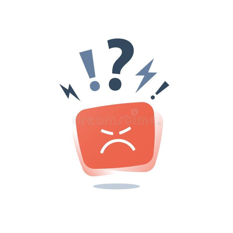 恼怒的红脸,疯狂的意思号贴纸,消极认为,坏经验反馈,困难的通信,恶劣的服务质量 向量例证