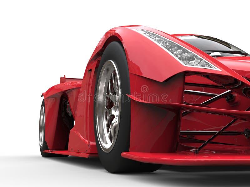 恼怒的红色超级种族车的正面图低角度射击 向量例证
