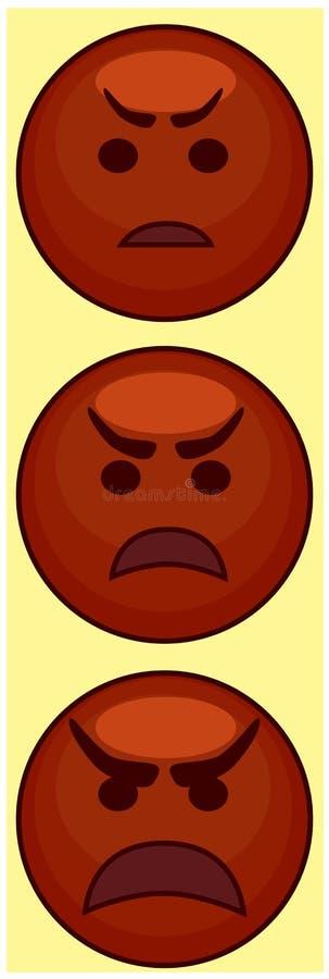 恼怒的红色emoji有黄色背景 图标三 皇族释放例证